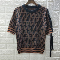 Fendi New fashion more letter short sleeve top with bowknot T-shirt Coffee