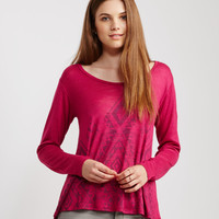 Long Sleeve Southwest Crochet Boxy Tee