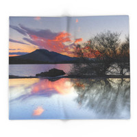 Society6 Trees In The Water At The Red Sunset Blanket