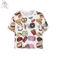 2016 Latest New Women Casual Fast Food Print T-Shirt Crop Top One Size In White/Black Free Shipping