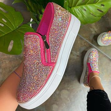 New style rhinestone shoes side zipper large size ladies sneakers
