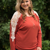 Curvy| Leap Of Lace Top - Rust