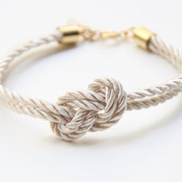 Small White silk Knot Bracelet  24k gold plated by Brinkel on Etsy