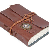 Light Brown Vegan Faux Leather Journal with Cameo Bookmark - Ready To Ship -