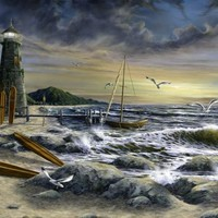 Surf Lighthouse by PaintArranger on Zibbet