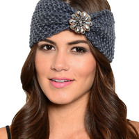 Crystal Beaded Floral Charm Knitted Fashion Winter Headwrap