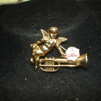 Angel on a Horn with a Pink  Porcelain Rose Gold Tone Brooch/pin