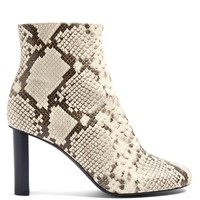 Snake-skin effect ruched leather ankle boots | Joseph | MATCHESFASHION.COM UK