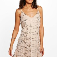 Taylor Strappy Sequin Swing Dress | Boohoo