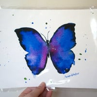 Blue Butterfly Watercolor Painting Giclee Print 8 by SusanWindsor