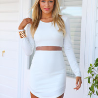 THE NIKITA DRESS - White bodycon long sleeve dress