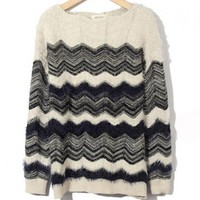 Fluffy Wave Knit Sweater