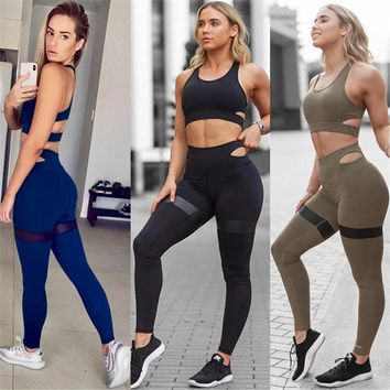 Women Slim Sport Suit Fitness Yoga Set Sports Bra And Pants Tights Sleeveless Exercise Shirts Gym Tracksuit Sportswear for Women