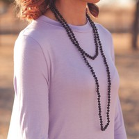 Long Beaded Necklace in Black