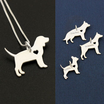 Beagle necklace sterling silver dog breeds pendant w/ Heart - Love Pet Jewelry Italian chain Women Best Cute Gift , Memorial Gift
