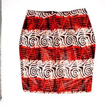 Red African Wax Print Mini Skirt