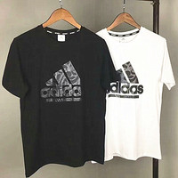 ADIDAS print loose black white top tee T-shirt H-A-XYCL
