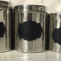 3 pc Kitchen Canister Set, Kitchen Canisters, Stainless Steel Kitchen Canister, Chalkboard Label Canister, Canister set chalkboard label
