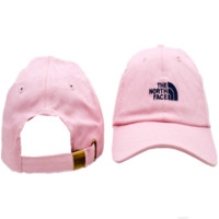 Casual Pink The North Face Embroidered Unisex Adjustable Cotton Sports Cap Hat