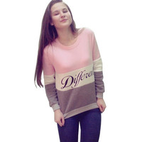 Hot Popular Floral Printed Floral Printed Mixed Color Sports Hoodies Long Sleeve Round Necked Alphabets Words Top _ 12584