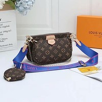 Louis Vuitton LV Hot Sale Classic Ladies Full Letter Three-piece Mahjong Bag Diagonal Bag Coffee