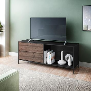"60"" Wooden TV Stand with 2 Drawers, Brown and Black By The Urban Port"