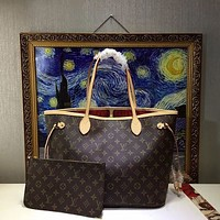 Louis Vuitton Hot Sale Classic Fully Printed Letters Color Block Two-piece Shopping Bag Shoulder Bag Coffee lv print