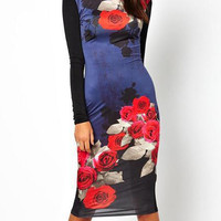 Long Sleeve Floral Backless Midi Bodycon Dress
