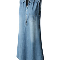 LE3NO Womens Classic Loose Fit Side Split Sleeveless Chambray Jean Denim Shirt Dress