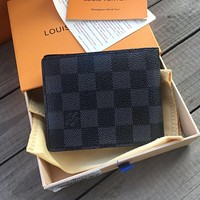 LV Louis Vuitton Hot Selling Classic Men's and Women's Full Letter Flip Clutch Square Wallet Bag