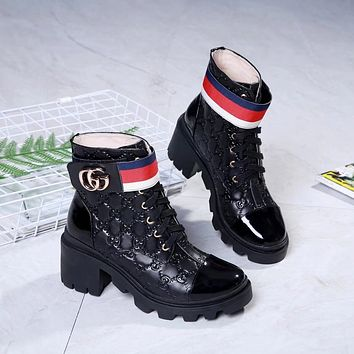 GUCCI   Trending Women's men Leather Side Zip Lace-up Ankle Boots Shoes High Boots