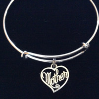 Silver Mother Heart Expandable Charm Bracelet Adjustable Wire Bangle Gift Trendy Mother's Mom Gift