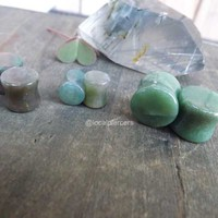 """Green Agate Stone Plugs 0g Pair Natural Organic 2g Double Flared 5/8"""" Gemstone Earrings 00g Gauges Stretched Earlobes 1/2"""" Ear Plug 