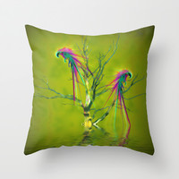 Fantasy parrots Throw Pillow by Shalisa Photography