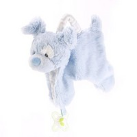 Demdaco Blue puppy Pacifier Holder and Blankie
