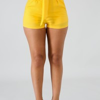 Yellow High Waist Paper Bag Short
