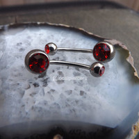 """Belly Button Ring 14g Red CZ Gemstone Curved Silver Barbell Navel Piercing Rings Barbells 1/2"""" 12mm Body Jewelry Gemstones Piercings 