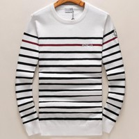 Moncler Trending Women Men Leisure Stripe Print Round Collar Pullover Top Sweater White I-A00FS-GJ