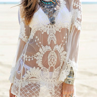 Beige Embroidered Mesh Cover-Up