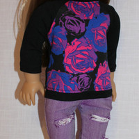18 inch doll clothes,floral black baseball tee and light purple ripped skinny jeans