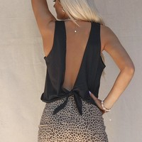 Live Fast Black Open Tie Back Crop Tank