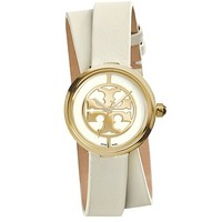 Tory Burch Reva Double-wrap Watch, Ivory Leather/gold-tone, 28 Mm