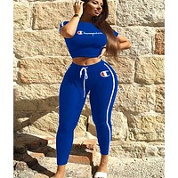 Champion Tide brand women's sports letter printing two-piece Blue