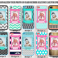 Personalized BABY PHOTO MONOGRAM Rubber Case For iPhone 7 6S 6 SE Custom Picture