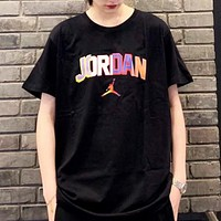 Jordan New fashion letter people print couple top t-shirt Black