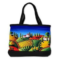 Tuscan Landscape Folk Art Shoulder Bag > Bags, Totes, Shoulder, Messenger, etc. > Renie Britenbucher Artwork