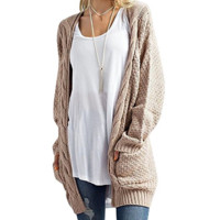 Open Front Chunky Warm Cardigans Pointelle Pullover Sweater Blouses