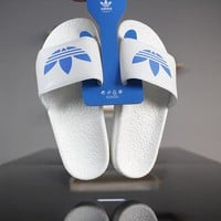 "Adidas Adiltte Boost S80771 ""White&Blue"" Slide Sandals"