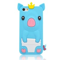 BYG Light Blue 3D Pig Cartoon Animal Silicone Case Cover for Iphone 5c + Gift