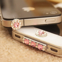 Crystal Anti dust Dock Plug Cover Home Button Sticker date plug for iPhone 5 5G